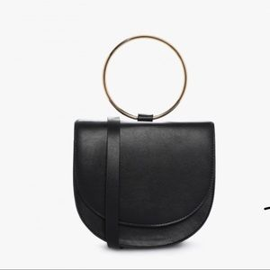 Forever 21 Black Faux Leather Ring Crossbody Bag